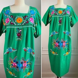 Vintage Traditional Mexican Embroidered Dress